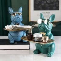 bulldog sculpture table decoration resin dog statue statue jewelry storage tray coin bank home room decor figurine art statue