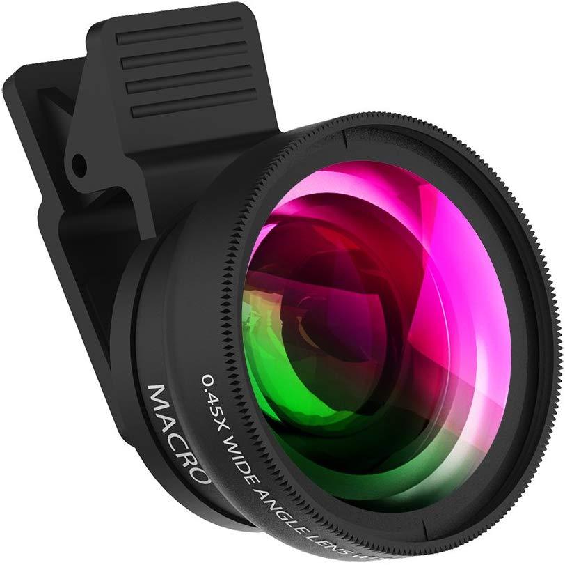 Teléfono Móvil 4K HD Lente Super macro para Smartphone Anti-Distorsión 0.45X lente gran angular vidrio óptico cámara de teléfono móvil Lent