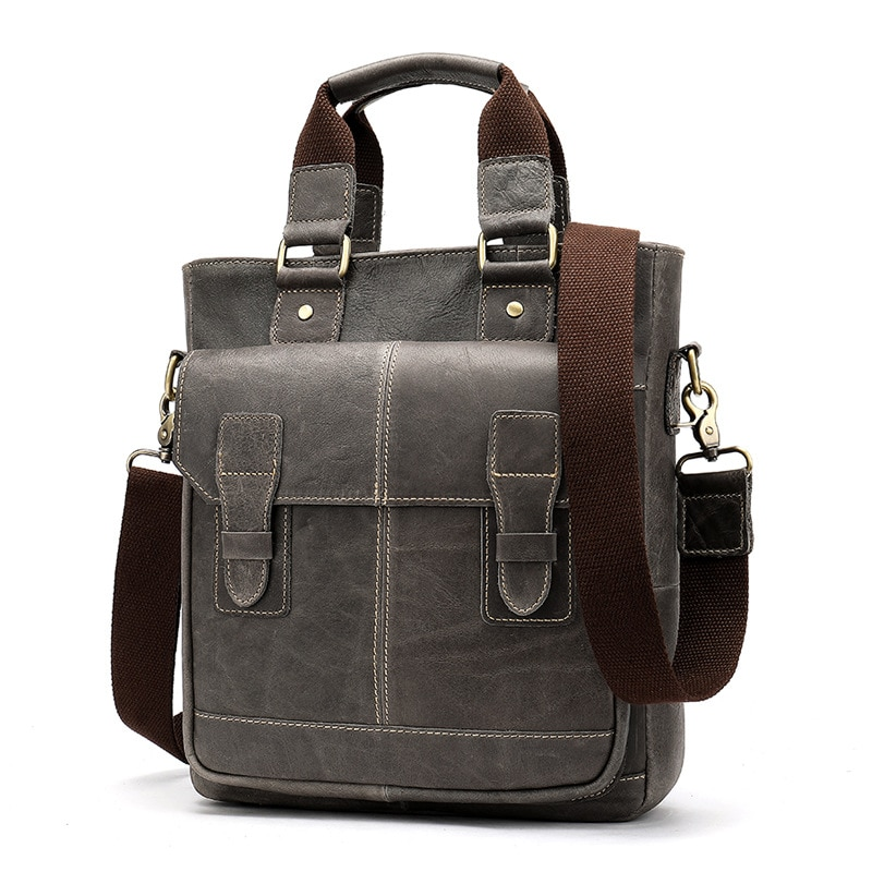 Real Leather Man Bag Commercial Retro Men's Upright Hand Bill of Lading Shoulder Bag Inclined Head Layer Cowhide Man Bag