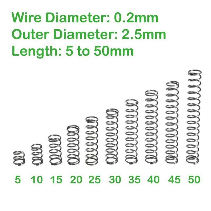 Wire diameter 0.2mm OD 2.5mm Length 5mm to 50mm small compression springs [vk] tocos lap axial length 50mm small angle 45 degrees 3pcs lot switches