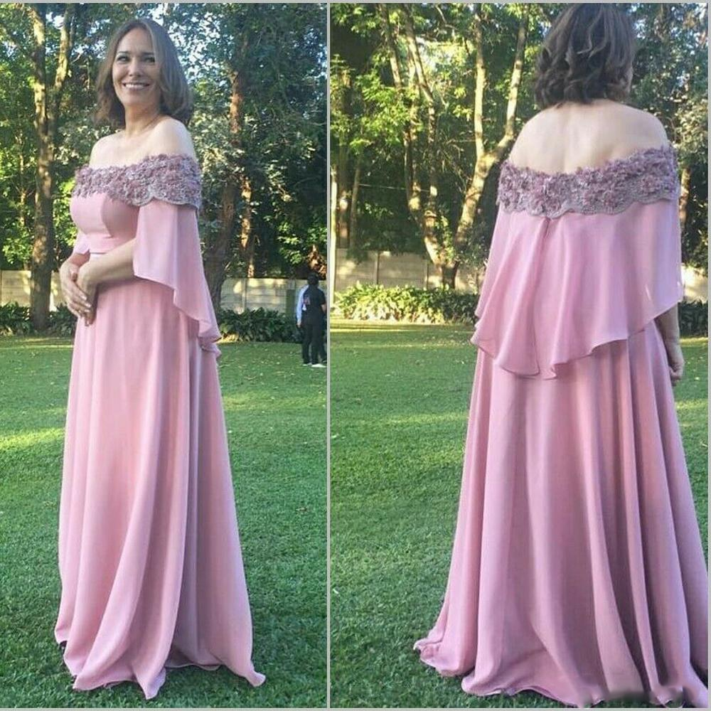 plus size green 2018 mother of the bride dresses a line 3 4 sleeves chiffon lace wedding party dress mother dresses for wedding 2020 Pink Plus Size Mother Of The Bride Dresses For Wedding Party Lace Top Off the Shoulder Chiffon Custom Made Mother Dress