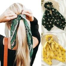 MINHIN imprimé fleuri chouchous pour femmes élastiques bandes de cheveux banderoles arc cheveux écharpe cheveux corde cravates mode cheveux accessoires