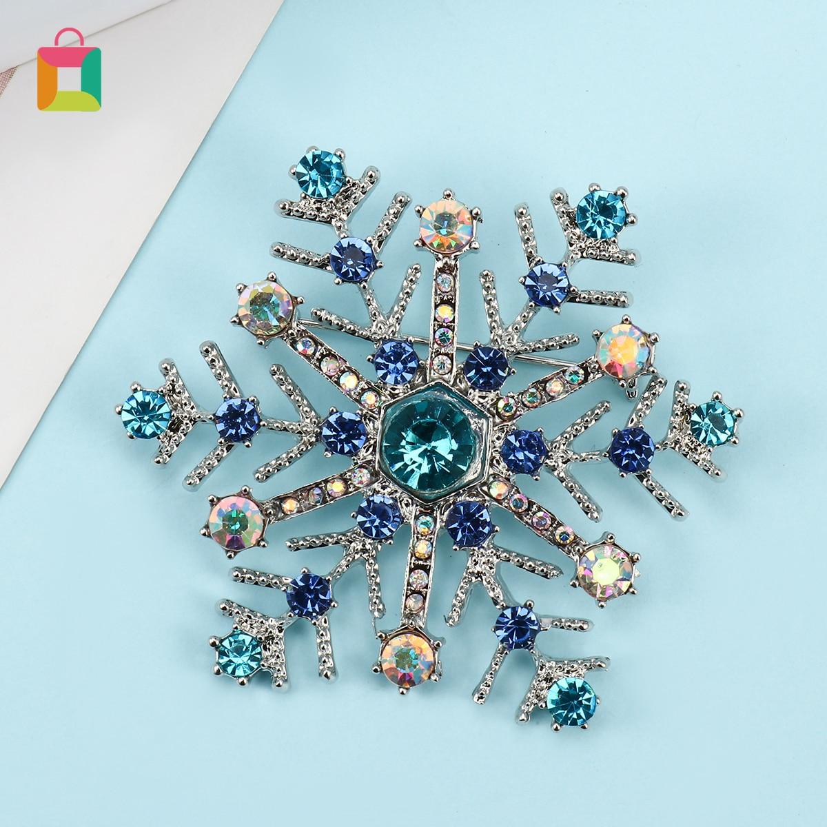 Dames Sneeuwvlok Glanzende Kleur Strass Broche Sieraden Compound Haar Bronze Crystal Kerst Broche Gift Ornament Glittery