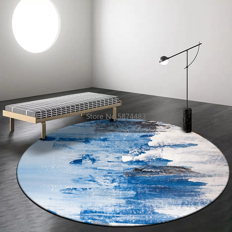 1200cm New Chinese Style Abstract Ink Blue and White Living Room Bedroom Hanging Basket Chair Round Floor Mat