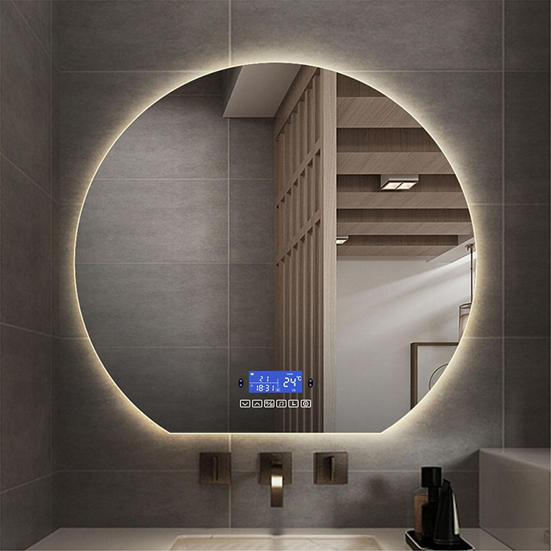80 سنتيمتر الحمام الحديثة الحائط الذكية التجميل Led مرآة مستديرة مع عرض الوقت والأسنان الزرقاء