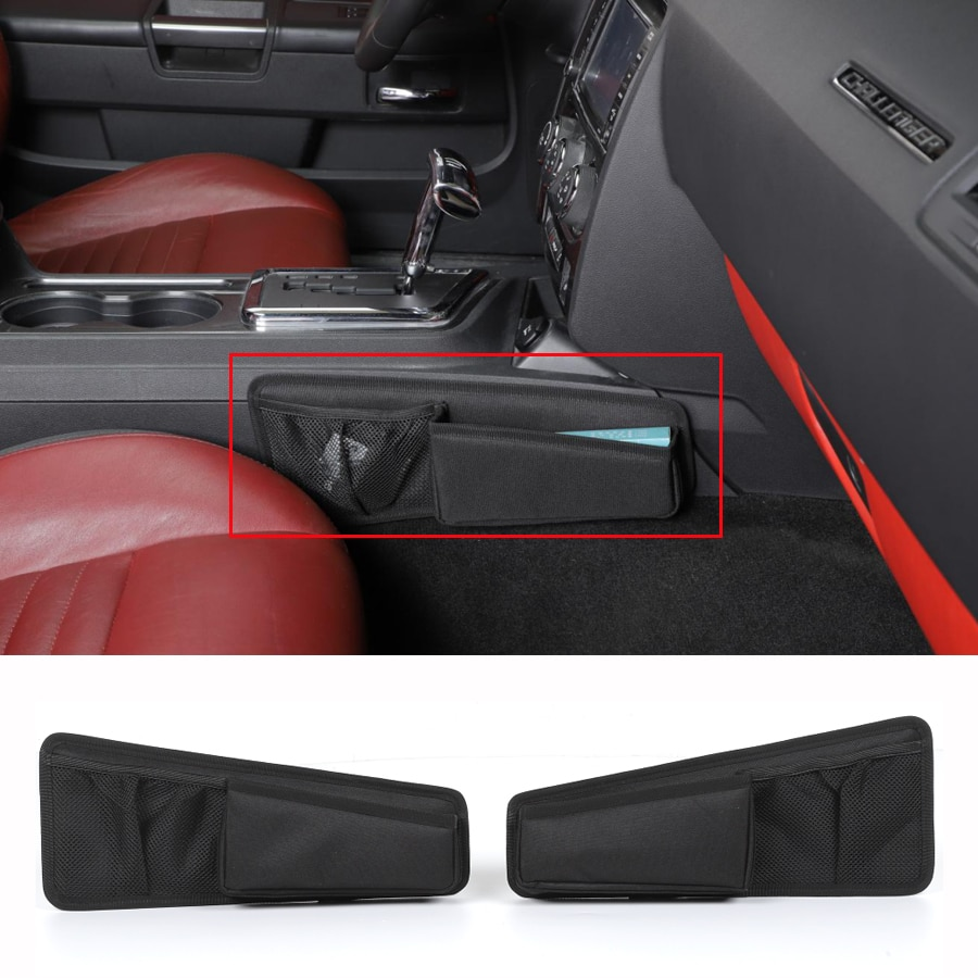 YCCPAUTO 2Pcs Stowing Tidying Oxford Cloth Car Organizer Gear Shift Storage Bag For Dodge Challenger