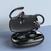 tws earphones bluetooth compatible with microphones sport ear hook led display wireless headphones earbuds waterproof headsets