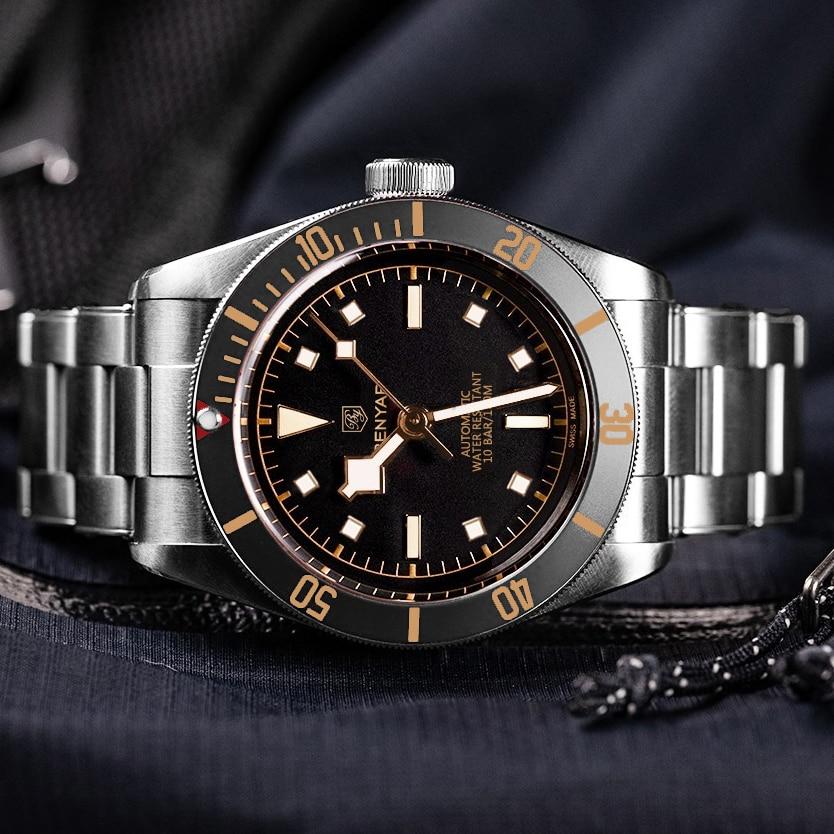 Mecânicos de Luxo para Homens Esporte à Prova Relógio de Pulso Nova Marca Benyar Relógios Relógio Automático Dwaterproof Água Homem Reloj Hombre 2021
