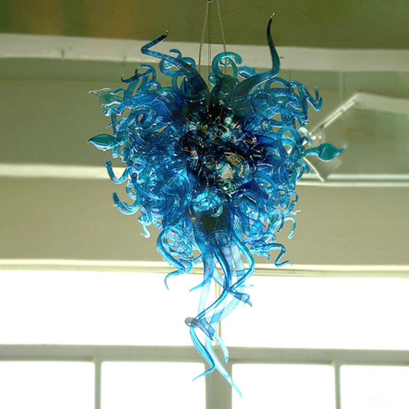 Vintage Pendant Lamps Blue Color Creative Crystal Hand Blown Glass Chandelier 24x40 Inches Murano Italian Chandeliers Lighting