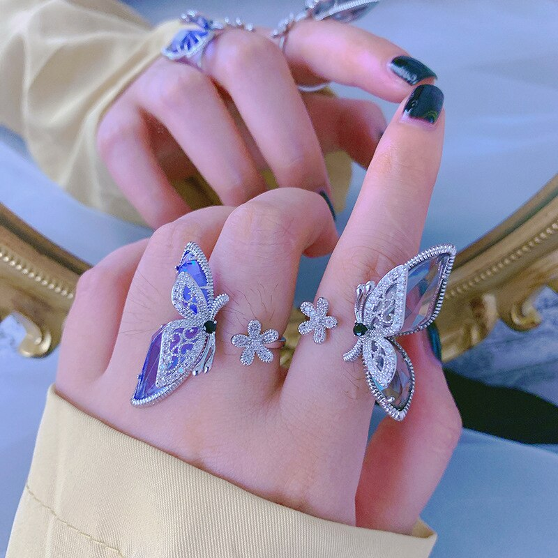 Женское Открытое кольцо с цветком и бабочкой, регулируемое кольцо с большим кристаллом, 2020