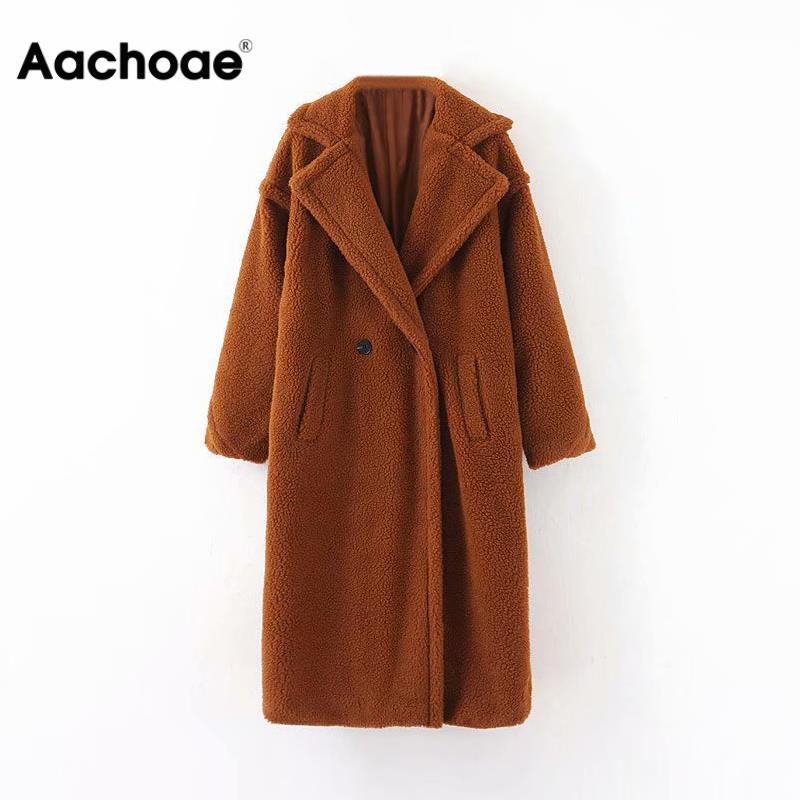 Aachoae Winter Casual Solid Teddy Coat Women Long Sleeve Fleece Long Jacket Turn Down Collar Lamb Fur Coat Outerwear Fourrure