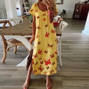 Summer Women Daisy Butterfly Print Dress Elegant O-neck Short Sleeve Party Dress Vintage Casual Ladies Slit Long Dress 2020#W3
