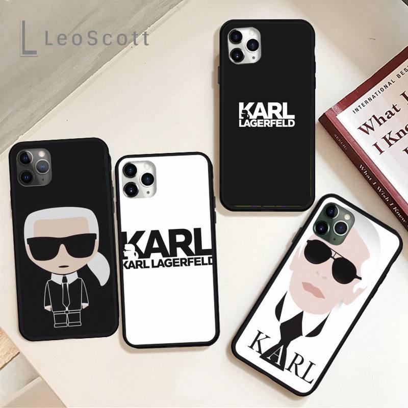 Marca de luxo designer karls lagerfeld caso telefone para o iphone 11 12 pro xs max 8 7 6s plus x 5S se 2020 xr escudo capa funda