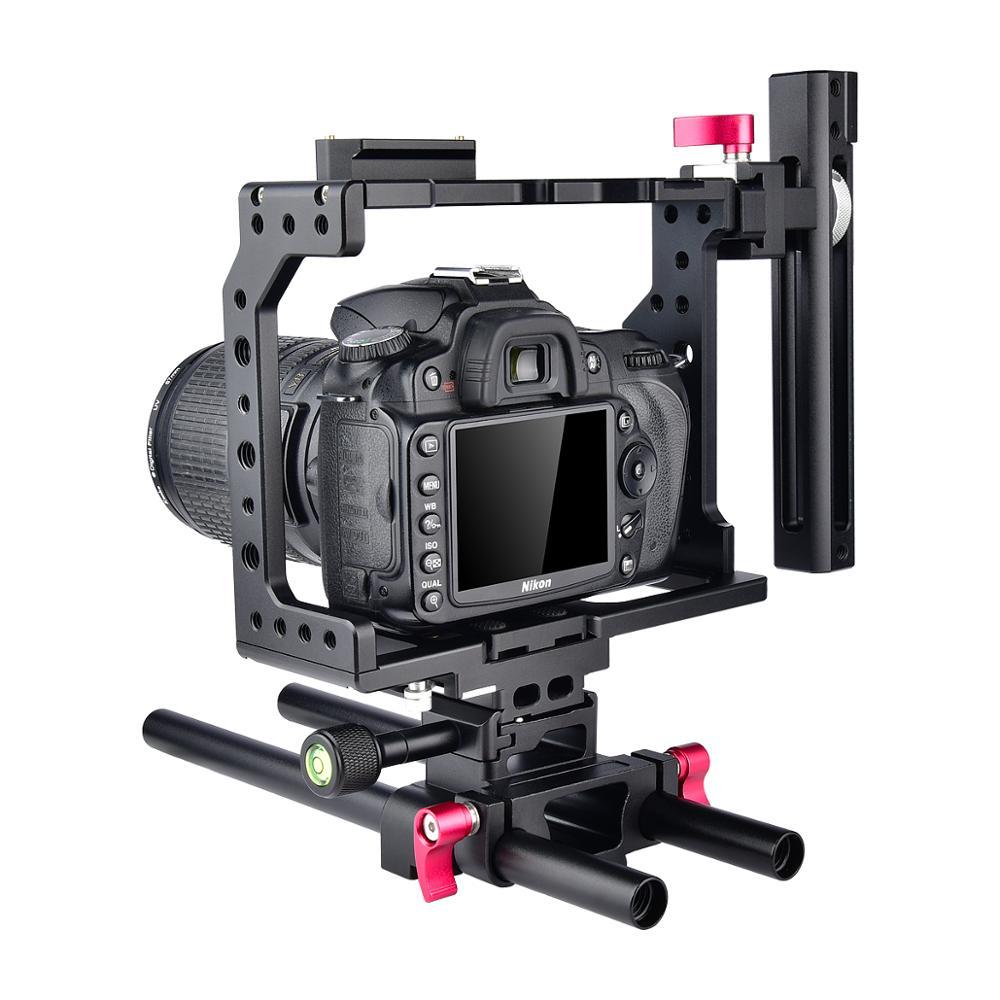 Yelangu-مثبت قفص كاميرا الفيديو بمقبض من الألومنيوم ، لكاميرا Canon 5D Mark IV III Nikon D90 D850 D750 DSLR ، مع مقبض علوي