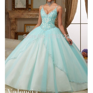 2020 Tulle Quinceanera Dresses Ball Gown V Neck Line Ruched Bodice With Lace and Beads Spaghetti Straps Sweet 16 Dress