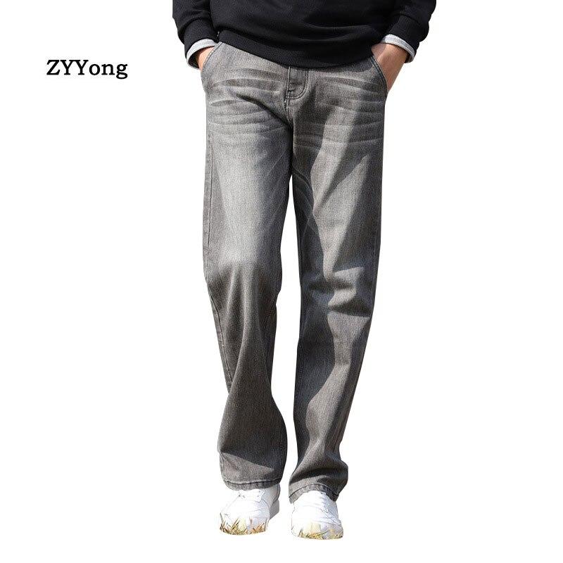 Летние тонкие мужские джинсы, Широкие джинсовые штаны большого размера, свободные хип-хоп джинсы для скейтборда, прямые серые брюки, мешков...