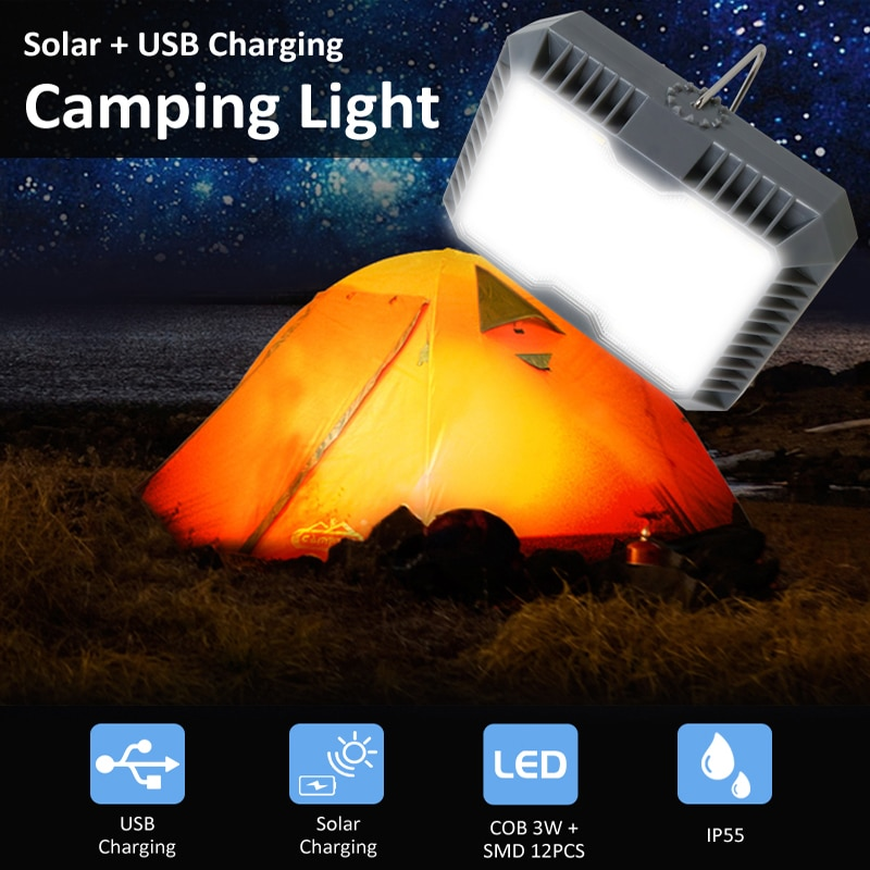 Outdoor Portable Hanging Lamp Camping Light USB+Solar Charging Flashlight Camping Tent Light Solar Led Lantern Portable Lantern