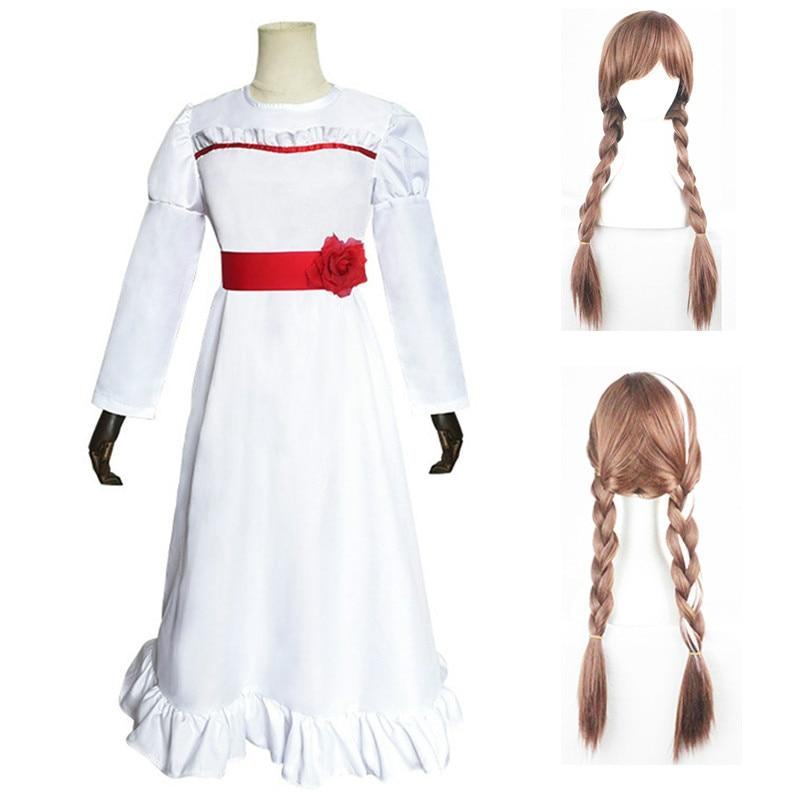 Movie Annabelle Costume Ghost Doll Cosplay White Women Long Princess Dress Skirt Girls Hair Kids Uniforms Wig Halloween Party