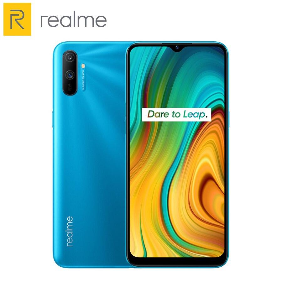 Перейти на Алиэкспресс и купить Глобальная версия Realme C3 3 3 Гб 64 Гб мобильный телефон Play Store Helio G70 12MP AI Camera 6,5 дюймHD Mini-drop Screen 5000 мАч аккумулятор NFC