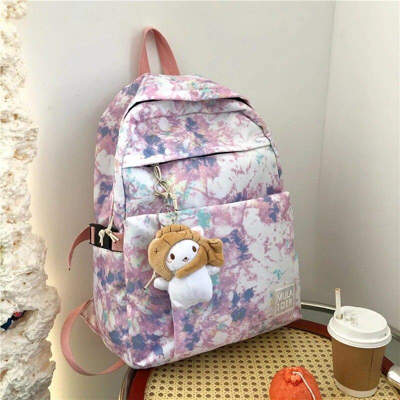 Школьный ранец Ins в японском стиле, рюкзак в стиле Харадзюку С граффити, модные женские сумки для книг с краской