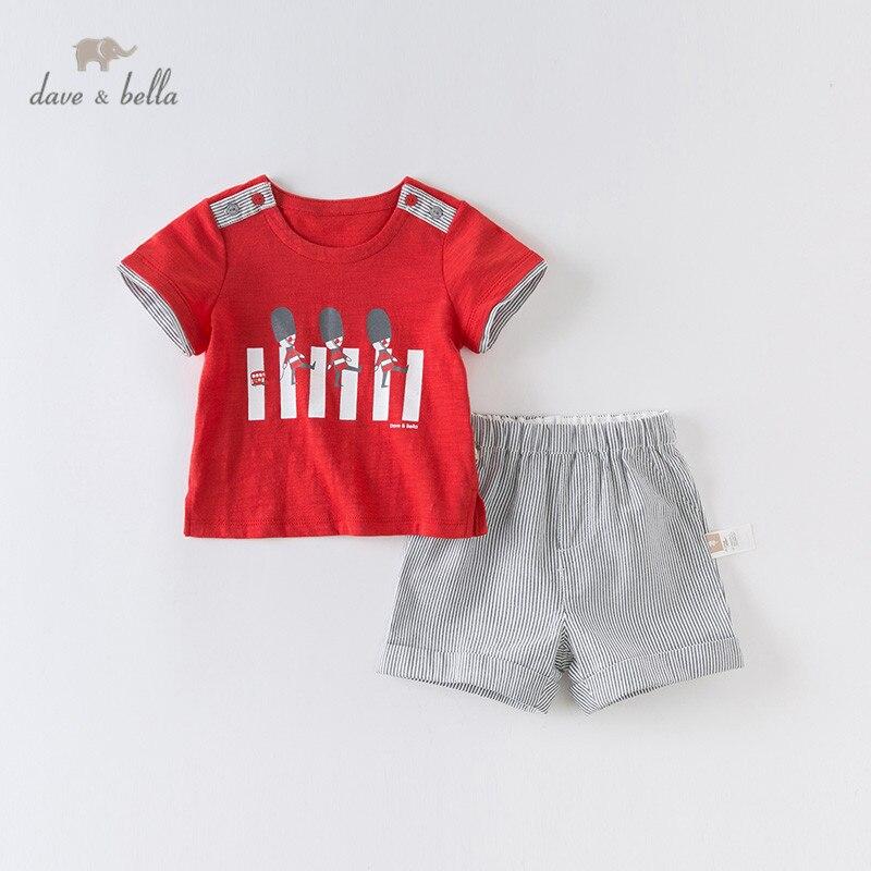 DB13361 dave bella, conjuntos de ropa de verano para bebés a la moda con dibujos a rayas, conjuntos de ropa de manga corta para niños, conjunto de 2 uds para niños