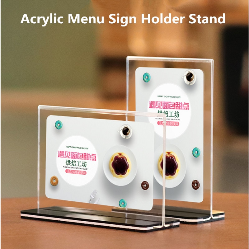 manual plastic turntable 20cm 8 inch rotating base acrylic transparent photo frame display stand three dimension accessories A6 Clear Plastic Acrylic Table Menu Stand, Card Display, Upright Ad Photo Frame Acrylic Sign Holder