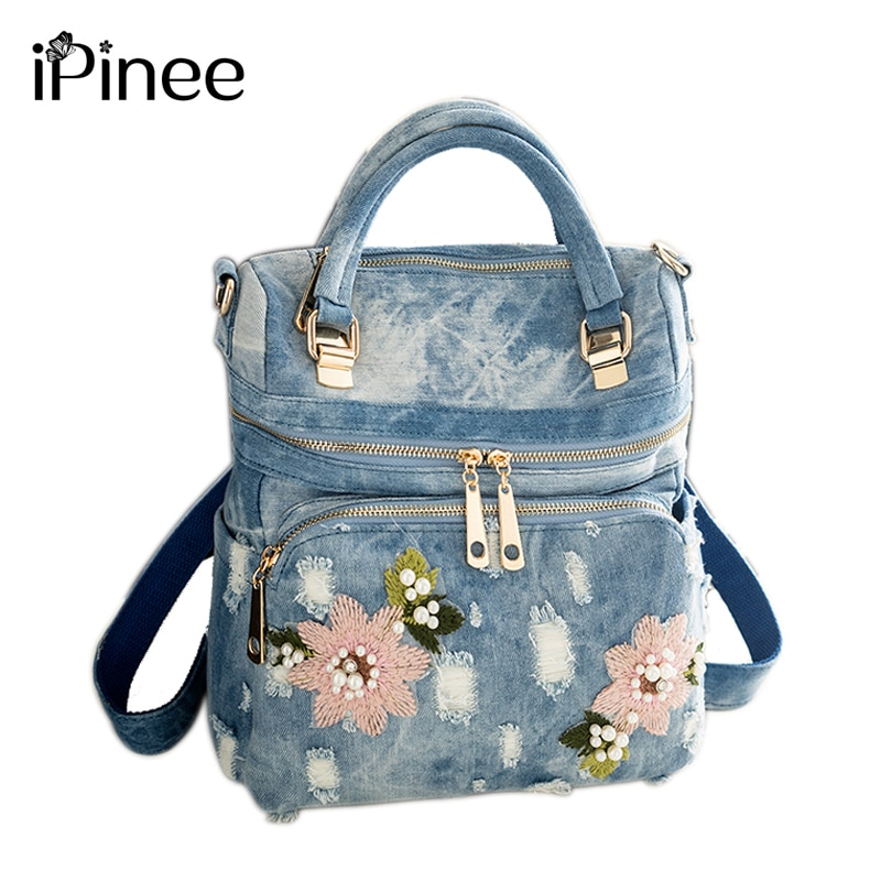 IPinee-حقيبة ظهر من الدنيم عالية الجودة للنساء ، حقيبة ظهر مدرسية للمراهقات ، حقيبة كتف ، mochila ، 2020