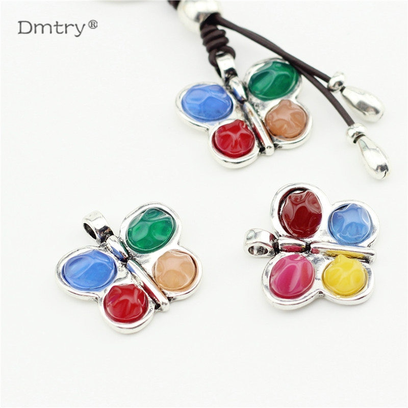 Dmtry 5pcs/lot Antique Silver-plated Color Butterfly Pendant Charms Makings Findings Accessory Metal Zinc Alloy Necklace LC0183 lydz001 stylish cool zinc alloy wolf tooth style pendant necklace black silver
