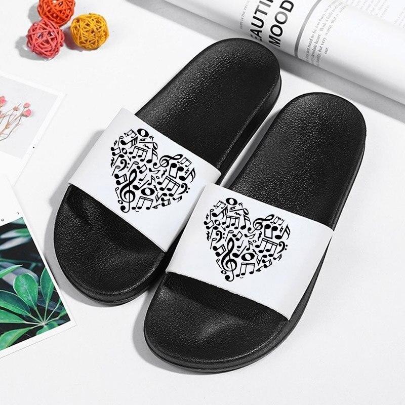 Female Shoes Slippers Summer flip flops Platform musical note Home Slippers Beach Sandals Outdoor Sl
