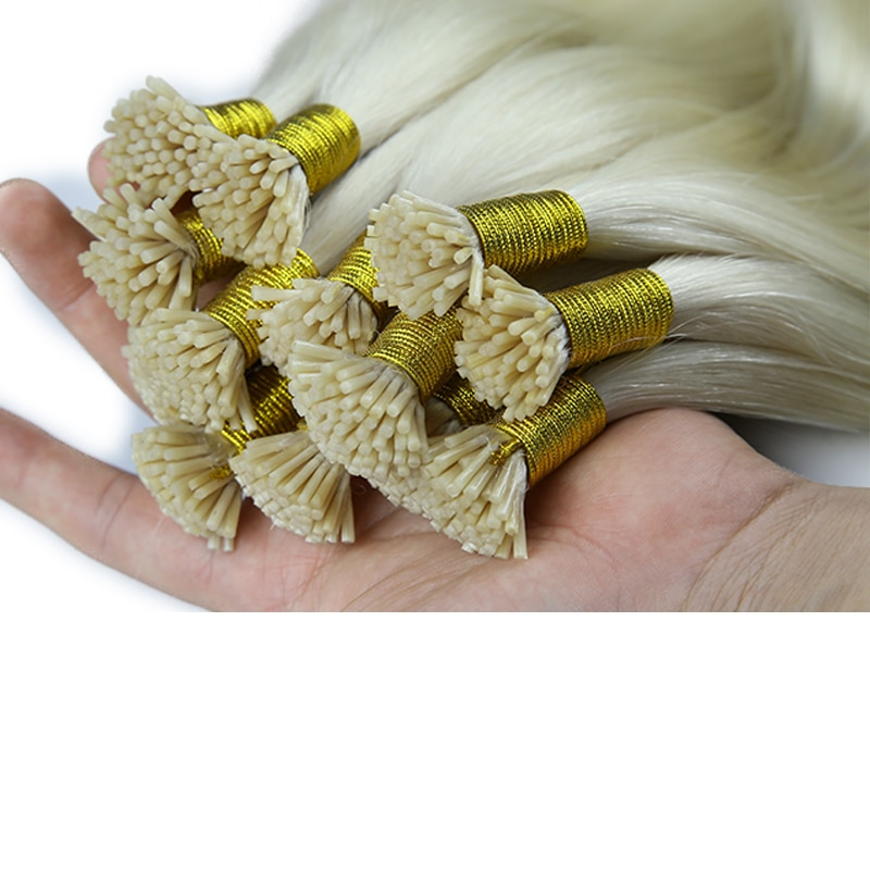 I Extensions Human Hair White Hair #1001 Straight I Tip Hair Extensions Real Double Drawn Human Hair 1g/s
