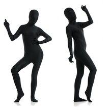 Livraison gratuite personnaliser adulte complet corps zentai costume noir serré costumes couleur Pure Halloween partie unité ajouter entrejambe fermeture éclair