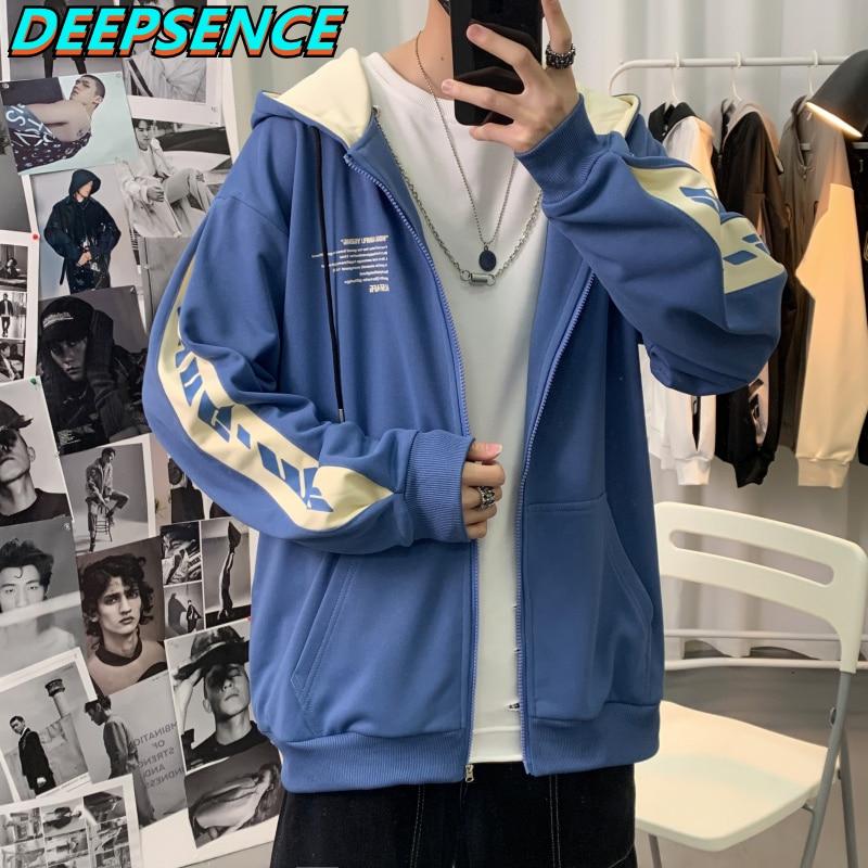 2021 Spring Autumn New Casual Hoodies Men Japan Harajuku Zipper Print Loose Fit Fashion Sport Cardig