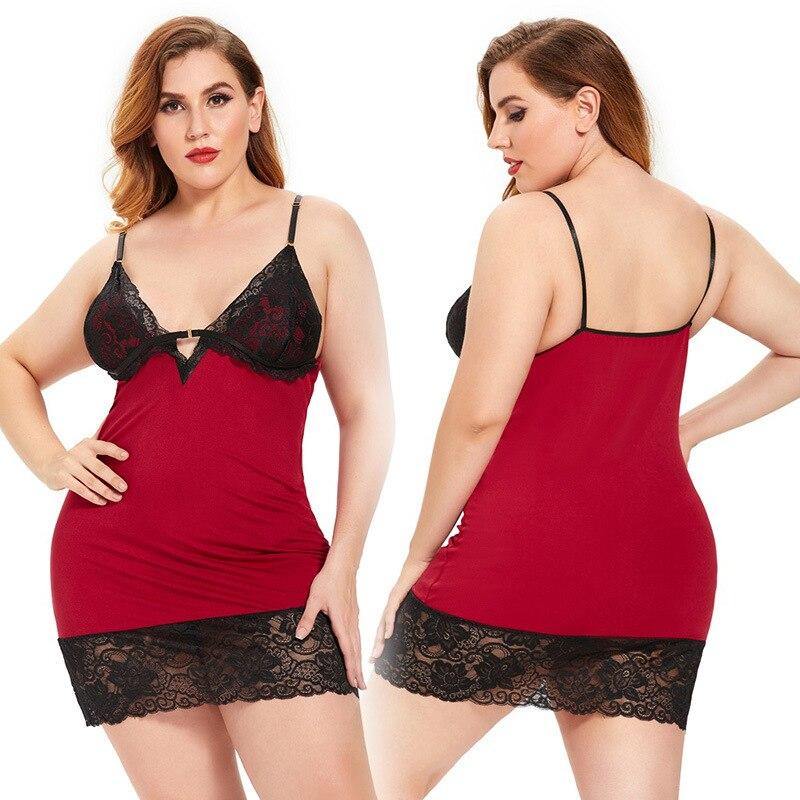 Camisón exótico de encaje para mujer, ropa de dormir Sexy de talla grande, disfraces eróticos sexys, transparente, rojo, 18