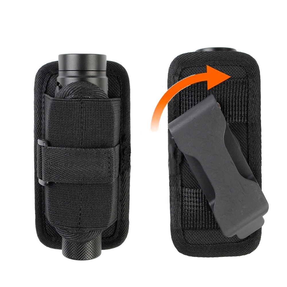Tactical Flashlight Pouch Torch Holder with 360 Degree Rotatable Belt Clip Flashlight Holster for Be