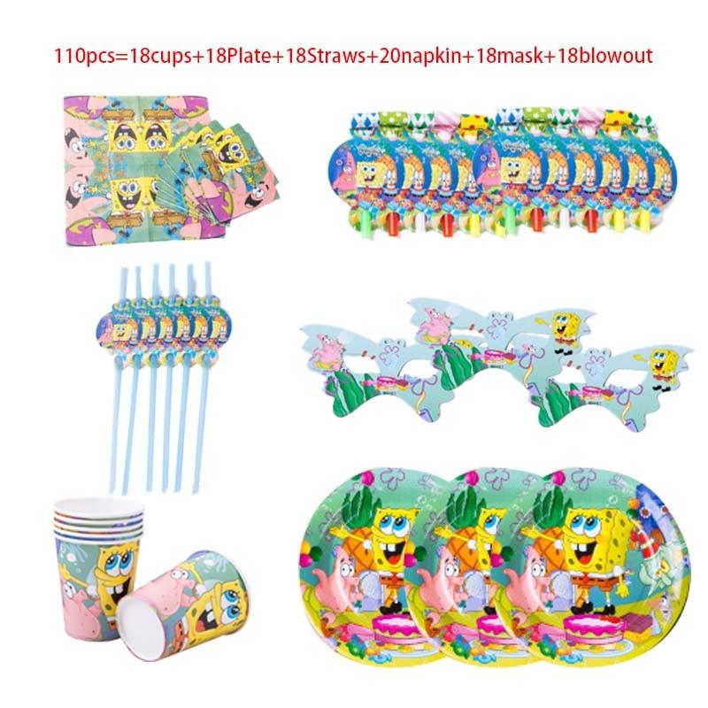 110pcs Sponge-Bob Theme Party DIY Supplies Kids Birthday Party Decorations Balloon Garland Disposable Tableware set Baby Shower