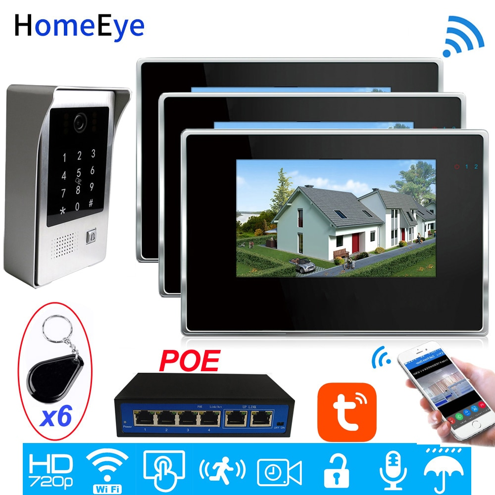 IP Video Intercom POE System Wifi Video Door Phone Motion Detection TuyaSmart App/Codepad/IC Card Unlock Security Access Control