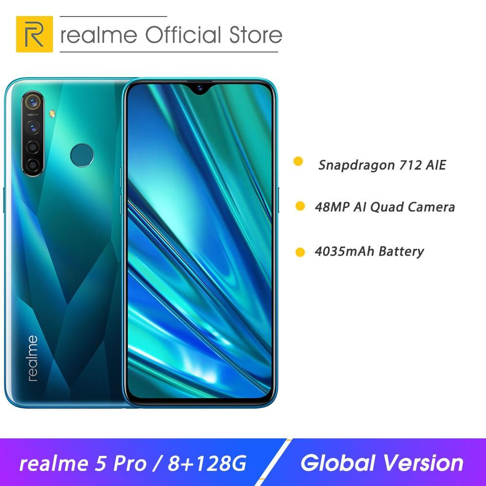 "Realme 5 pro 8 gb ram 128 gb rom 6.3 ""telefone móvel snapdragon 712aie 4035 mah 20 w vooc carga rápida 48mp quad câmera smartphone"