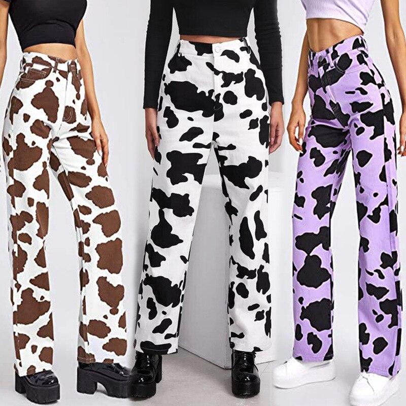 Прямые женские джинсы в стиле пэчворк, винтажные мешковатые джинсы с высокой талией, потертые уличные женские джинсы 2021, женские камуфляжны...