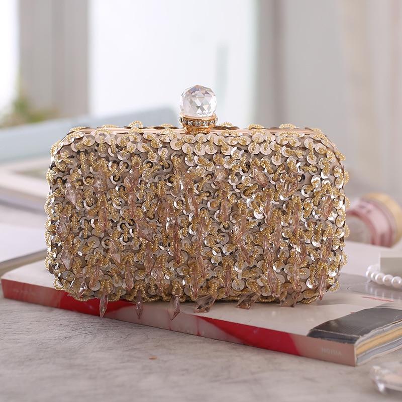 Cross border e-commerce supply new women's Beaded Dinner Bag hand bag hard box small square bag women's dress bag