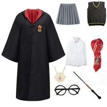 Children Outfits Cosplay Clothes Magic Cloak Robe Cape Cosplay Costume Shirt Hat Skirt Tie Wand Cosp