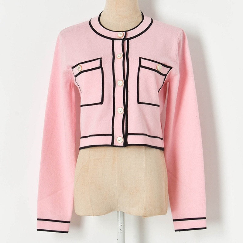 Runway Pink Cardigan Crop Top 2021 Luxury Cropped Cardigan Women Round Neck Single Breasted Knitted Cardigan Short Sweater Coat enlarge