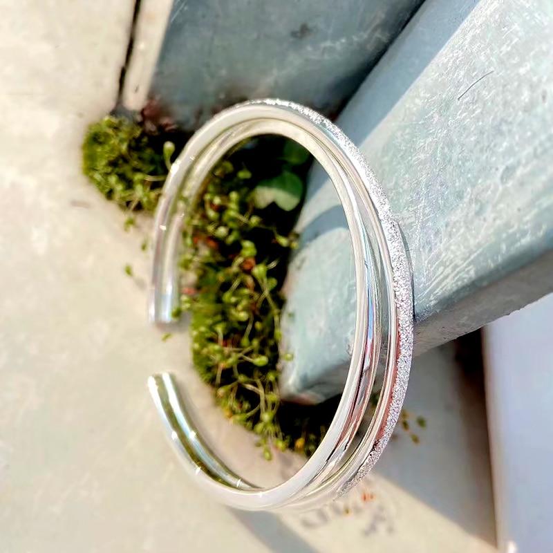 DIMINGKE S999 Sterling Silver Open Bracelet Frosted Cross Bracelet Girlfriend Birthday Gift Party High Jewelry