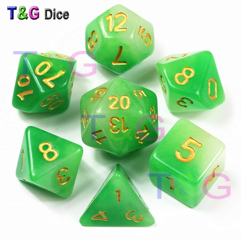 Double Effect Glow In Dark Dice,Green Color 7 Pc/set  D4 D6 D8 D10 D10% D12 D20 DND, Bar