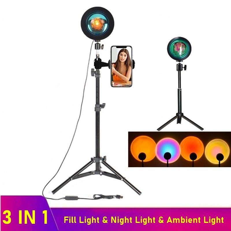 Luz LED de relleno para selfis, lámpara con proyector de atardecer, USB,...