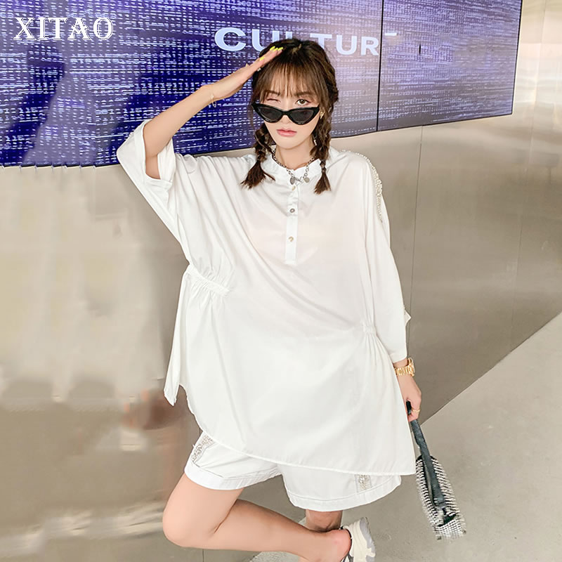 XITAO الشيفون اللون المرأة مجموعة قصيرة الخرز طيات الربط بلوزة عادية فضفاض موضة البساطة س الرقبة طوق كل مباراة CLL1882