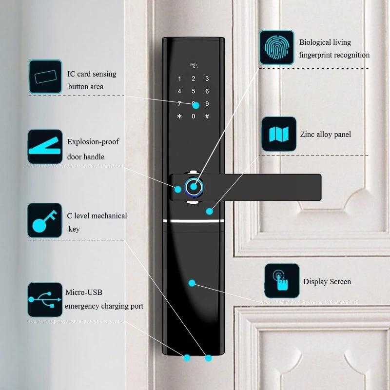 Fingerprint Door Lock Wifi Smart Tuya APP Lock Bluetooth Unlock Security Intelligent Lock Biometric Electronic Door Lock