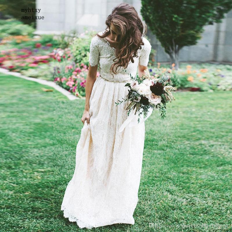 2020 кружевное длинное пляжное платье со шлейфом, недорогие свадебные платья, кружевное платье для невесты, съемная юбка-годе, женское платье