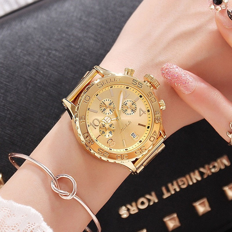 Big Dial Women Watches Lady Six-Pin Date Quartz Watch Stainless Steel Female Wristwatches Casual Watch for Woman reloj mujer New enlarge