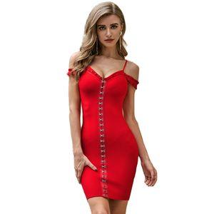 Women Sexy Designer Red Strap Bandage Dress Evening Designer Celebrity Chic Party Dress Vestido