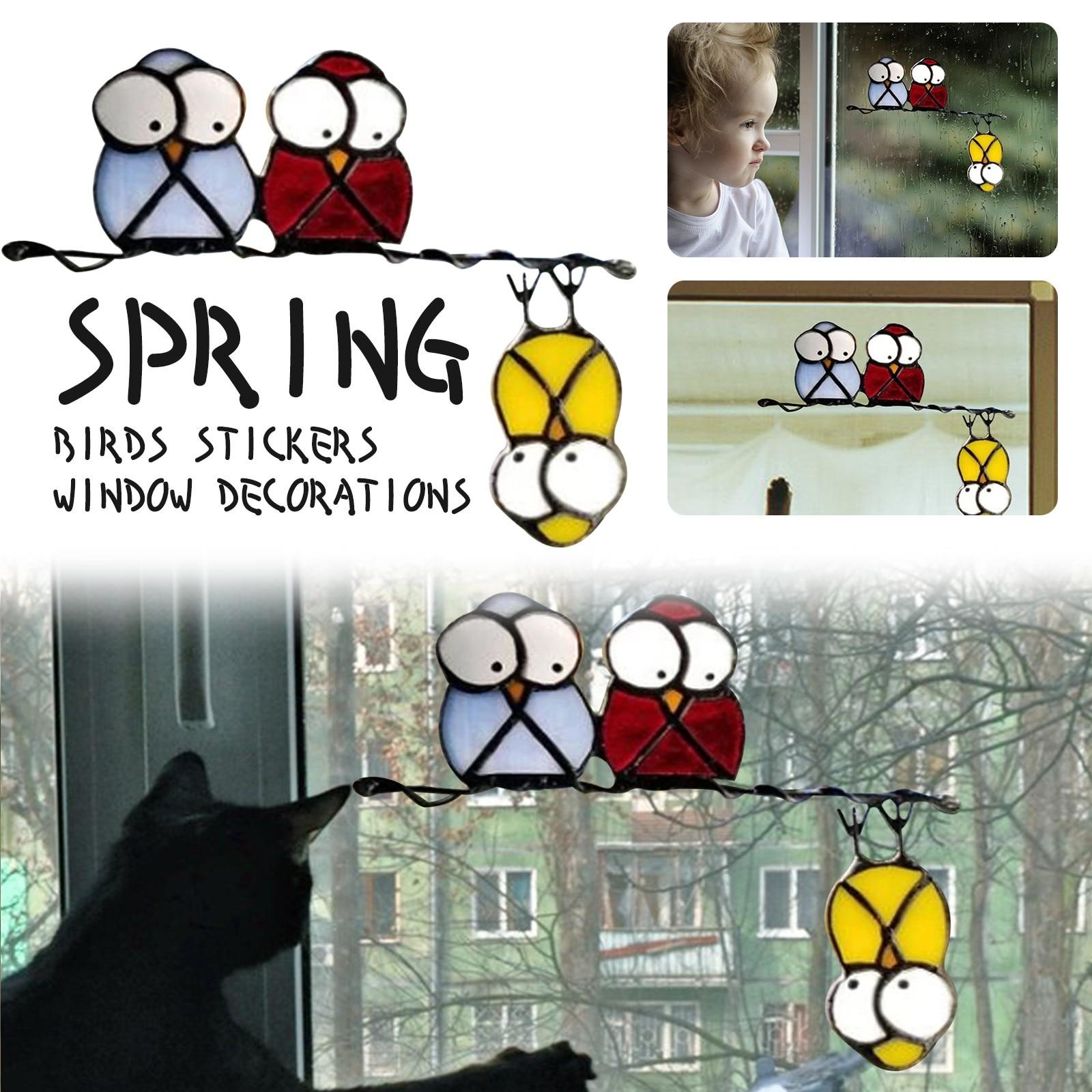 Pegatinas de lápiz de ventana para decoración del hogar... calcomanías de pájaros...